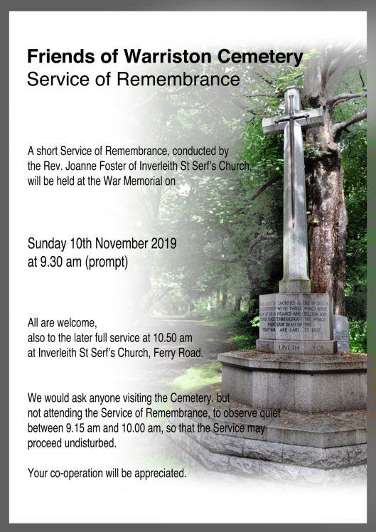 FoWC Remembrance poster 2019